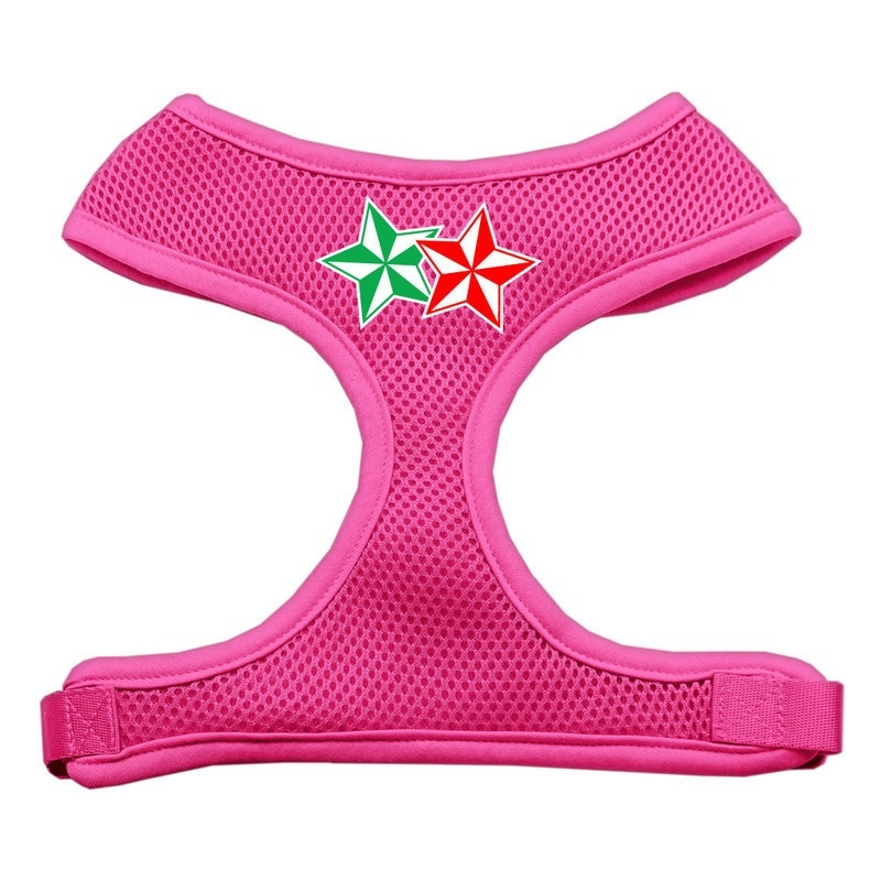 Double Holiday Star Screen Print Mesh Pet Harness Pink Extra Large