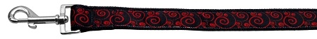 Red And Black Swirly Nylon Ribbon Dog Collars 1 Wide 6Ft Leash