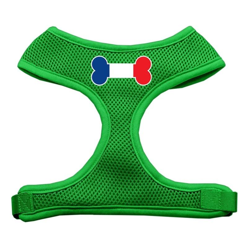 Bone Flag France Screen Print Soft Mesh Pet Harness Emerald Green Large