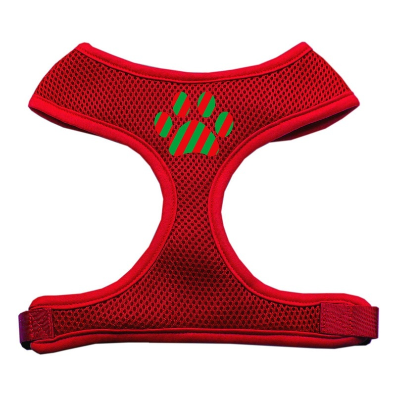 Christmas Paw Screen Print Soft Mesh Pet Harness Red Small