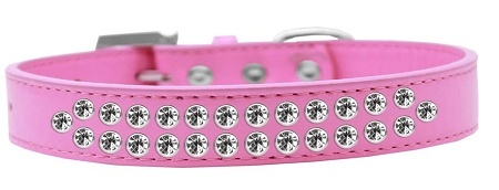 Two Row Clear Crystal Size 16 Bright Pink Dog Collar