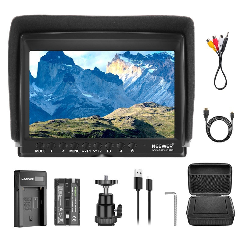 Neewer F100 7 Inch Camera Field Monitor Hd Video Assist Slim Ips 1280x800 With 2600mah Li-ion Battery/usb Charger,carrying Case