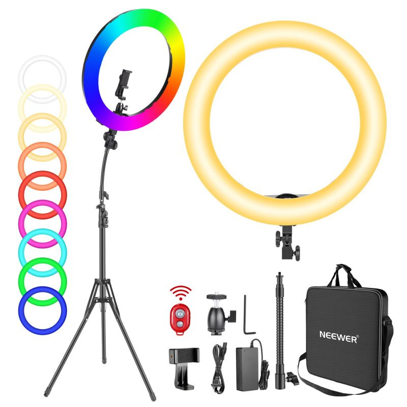 Neewer 18-inch Rgb 42w Dimmable Bi-color 3200k-5600k Cri 97+ Led Ring Light With Stand