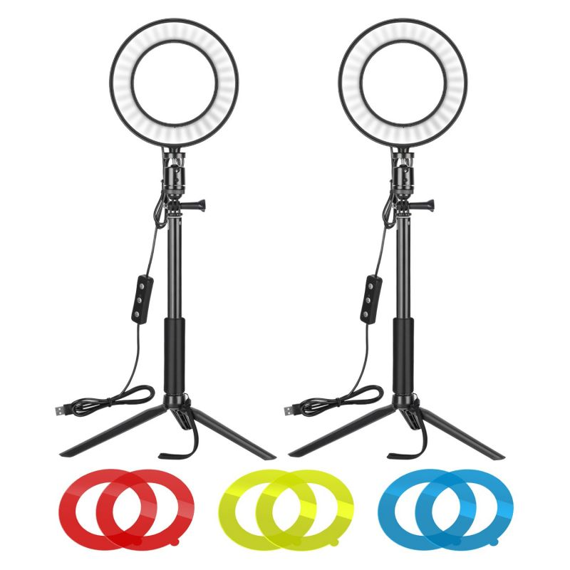 Neewer 2-pack 6-inch Dimmable Led Ring Light With Tripod Stand & Color Filter