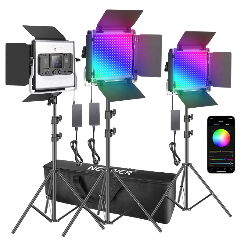 Neewer 3 Packs 530 Rgb Led Light With App Control, Photography Video Lighting Kit With Stands And Bag