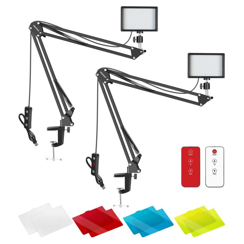 Neewer 2 Packs Led Video Light Plus Arm Stand With/Without Remote Control