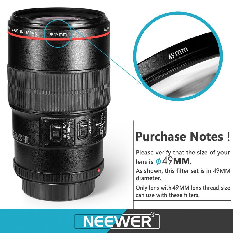 Neewer Lens Filter And Accessory Kit, Includes: Uv Cpl Fld Filters, Macro Close Up Filter Set(+1 +2 +4 +10), Nd2 Nd4 Nd8 Filters, Pouch Cap Hood