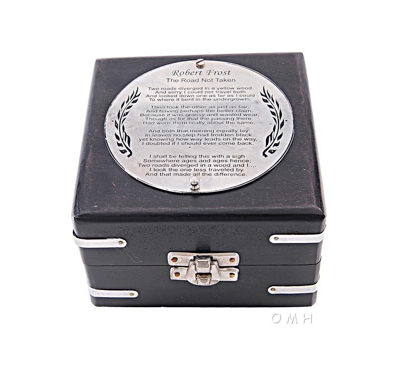 Brass Compass & Clock W/Wooden Case