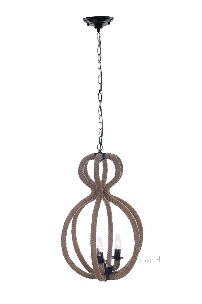 Rope Pendant Lamp - 3 Bulbs