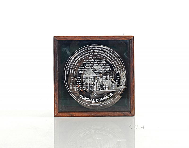 Sundial Compass In Wood Box (Large)