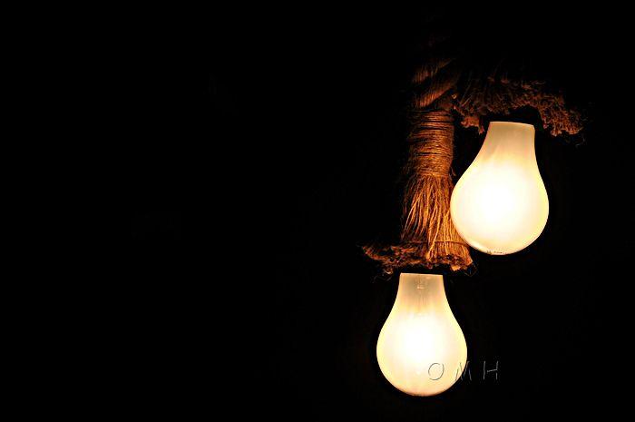 Rope Pendant Lamp - Two Bulbs