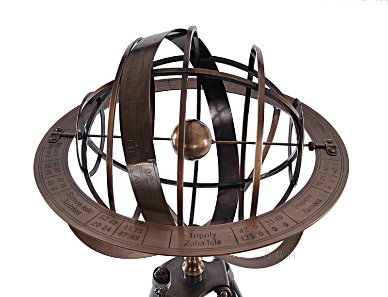 Brass Armillary With Wood Stand