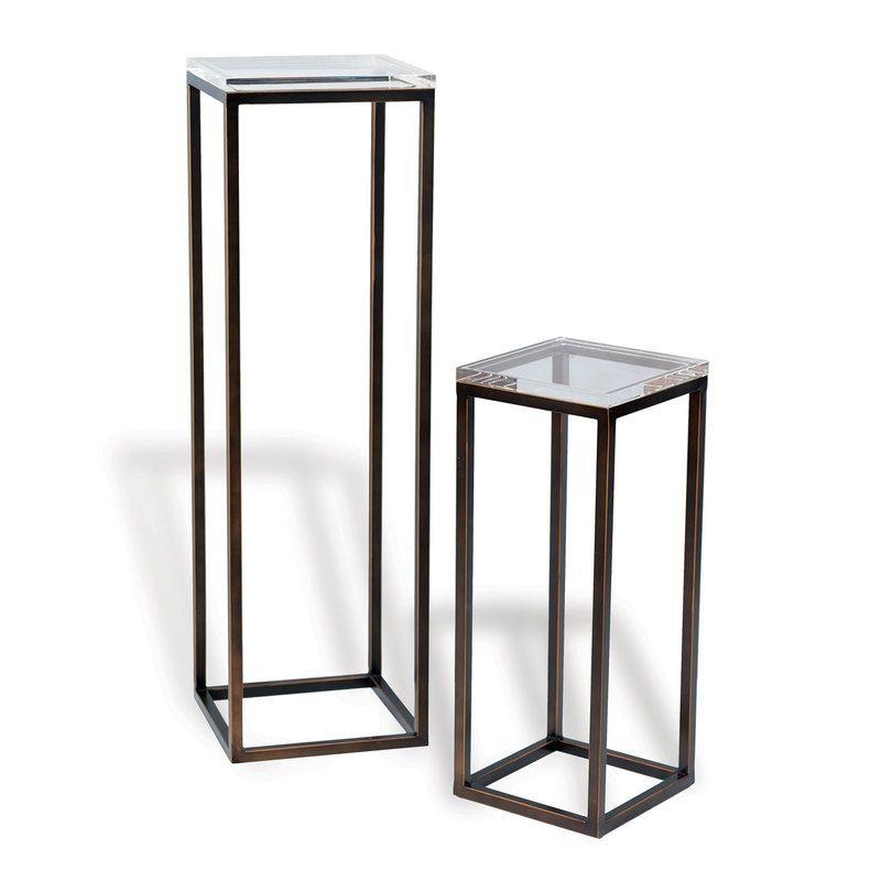 "Drake Bronze/Lucite Pedestals (Set Of 2) 25/40""h"