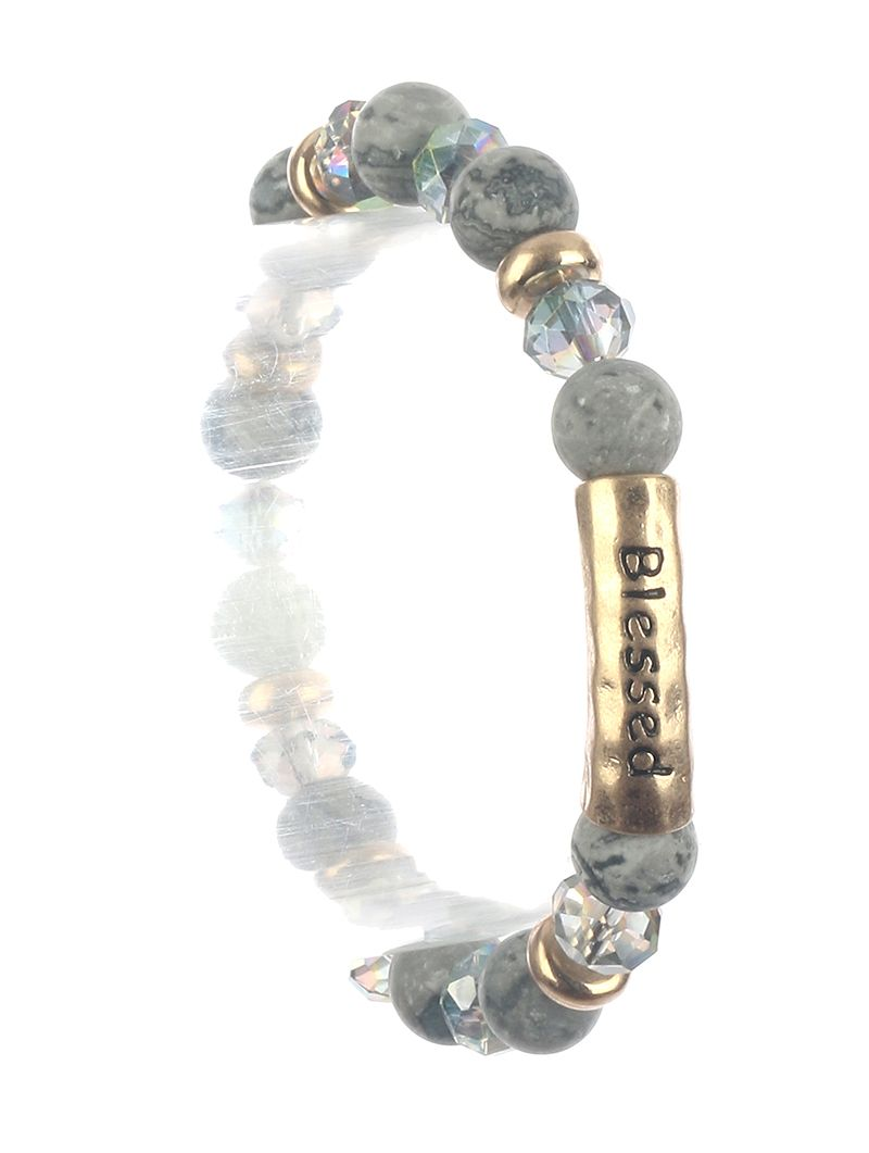 Natural Stone Finish Message Bead Stretch Blessed