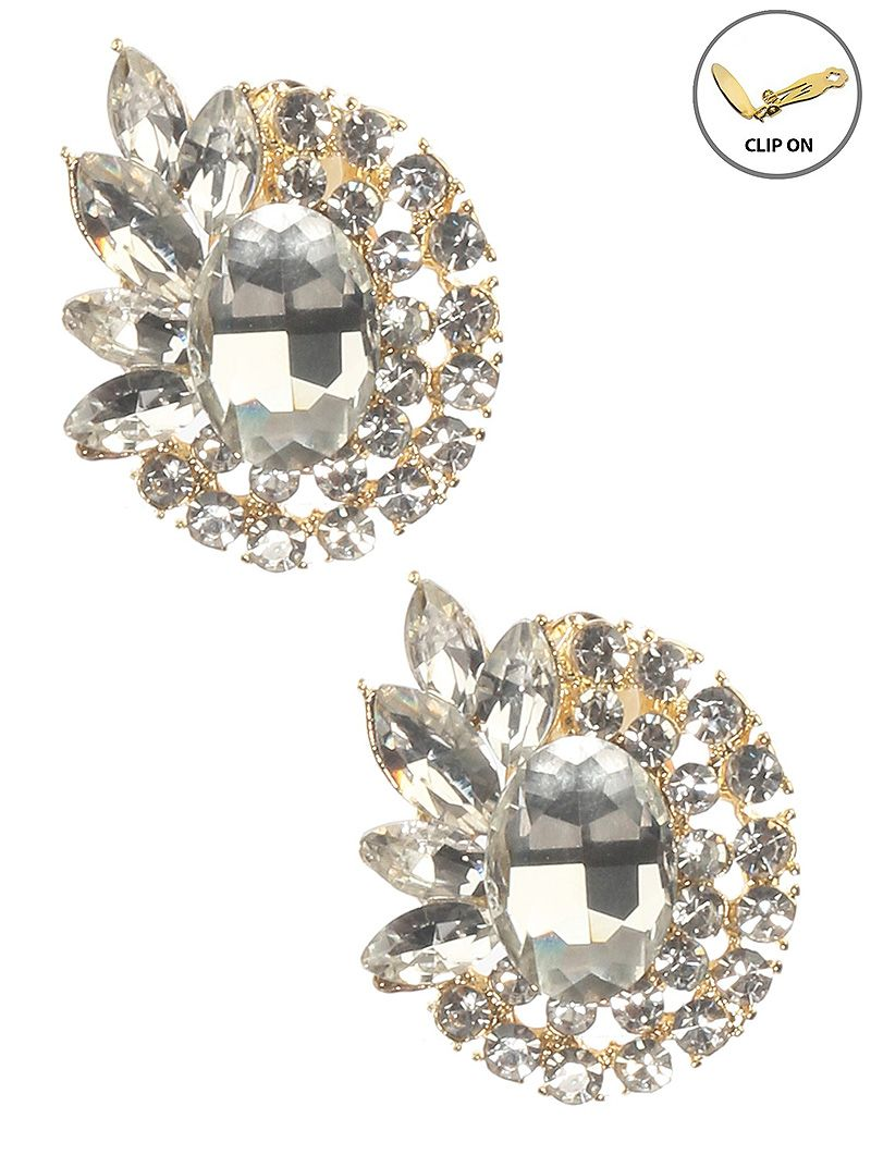 Crystal Stone Cluster Oval Clip On Metal Frame