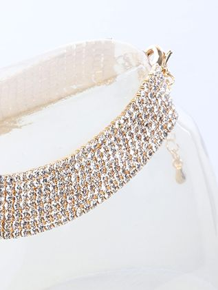 2Mm 7Line Anklet Rhinestone 8 Inch And 3 Inch Ext