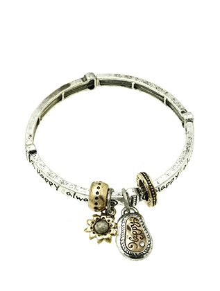 Aged Finish Metal Flower Charm Stretch Message