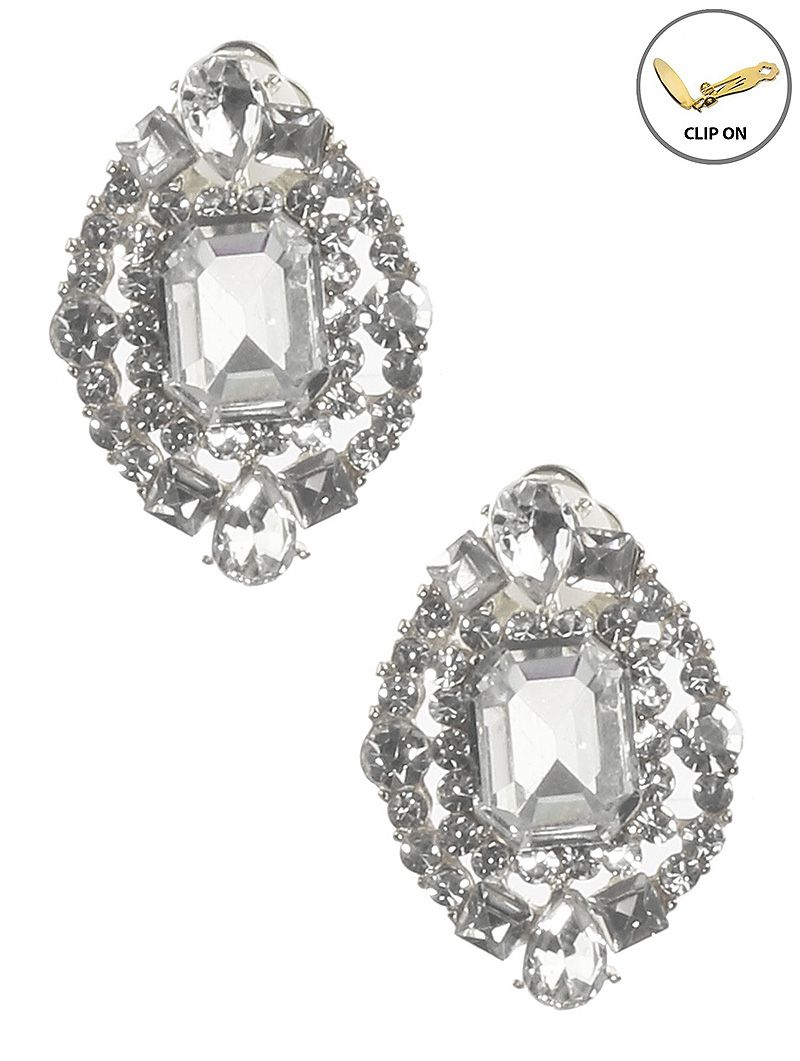 Crystal Stone Cluster Emerald Cut Clip On Metal Frame