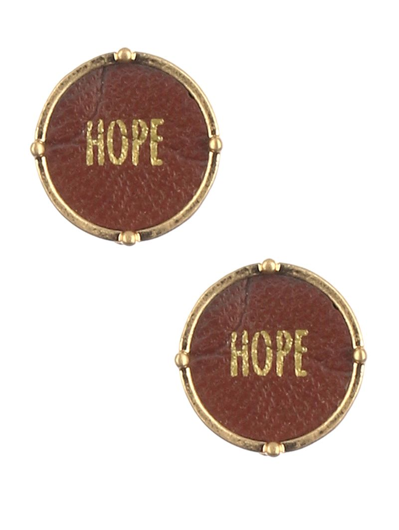 Faux Leather Round Message Hope