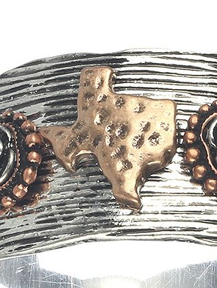 Aged Finish Metal State Of Texas Curved Metal
