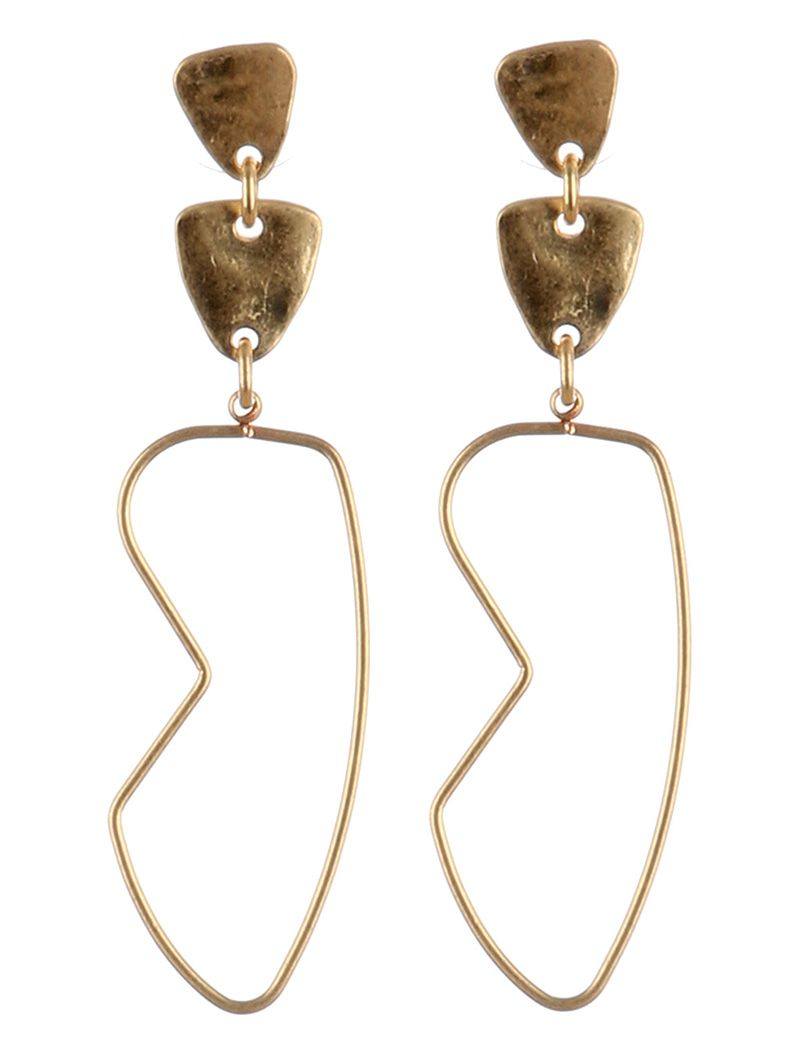 Matte Finish Metal Scuptural Shape Wire Dangle Hammered