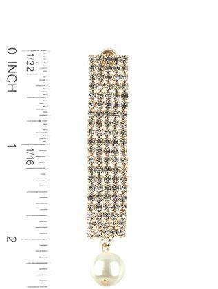 Linear Rhinestone Pearl Charm Wedding