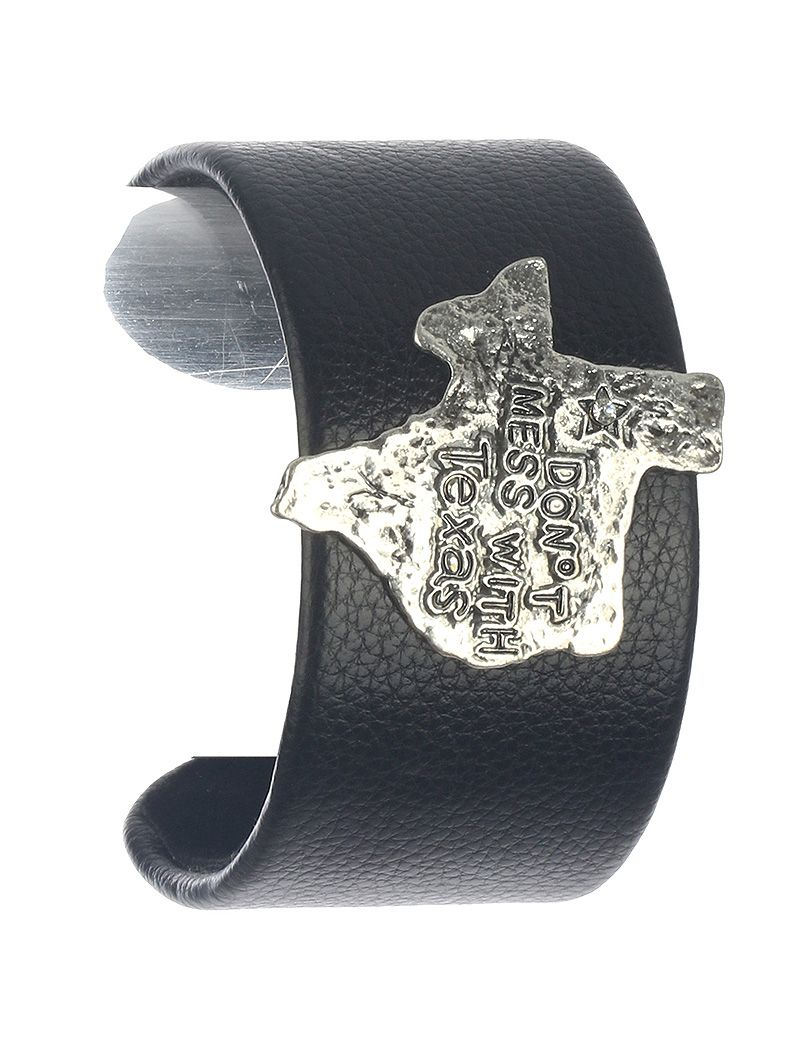 State Of Texas Faux Leather Cuff Curved Metal