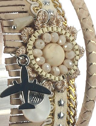 Fringed Faux Leather Band Airplane Charm