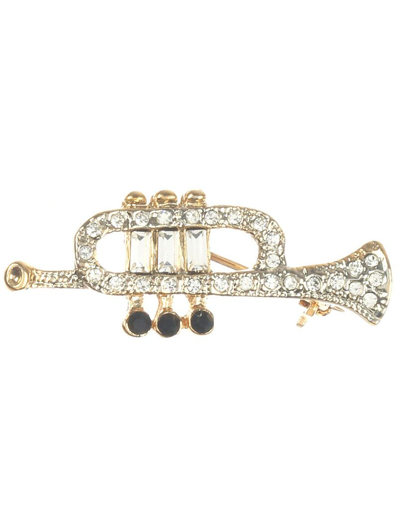 Pave Crystal Stone Trumpet Metal 1