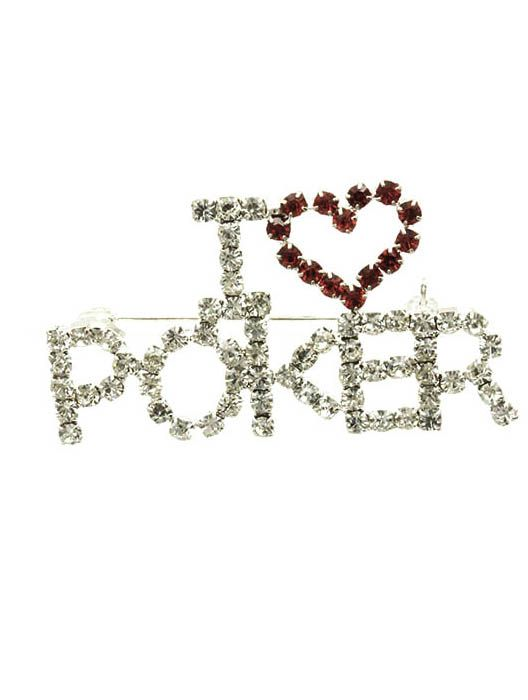 I Heart Poker Paved Crystal Stone 1 Inch Tall