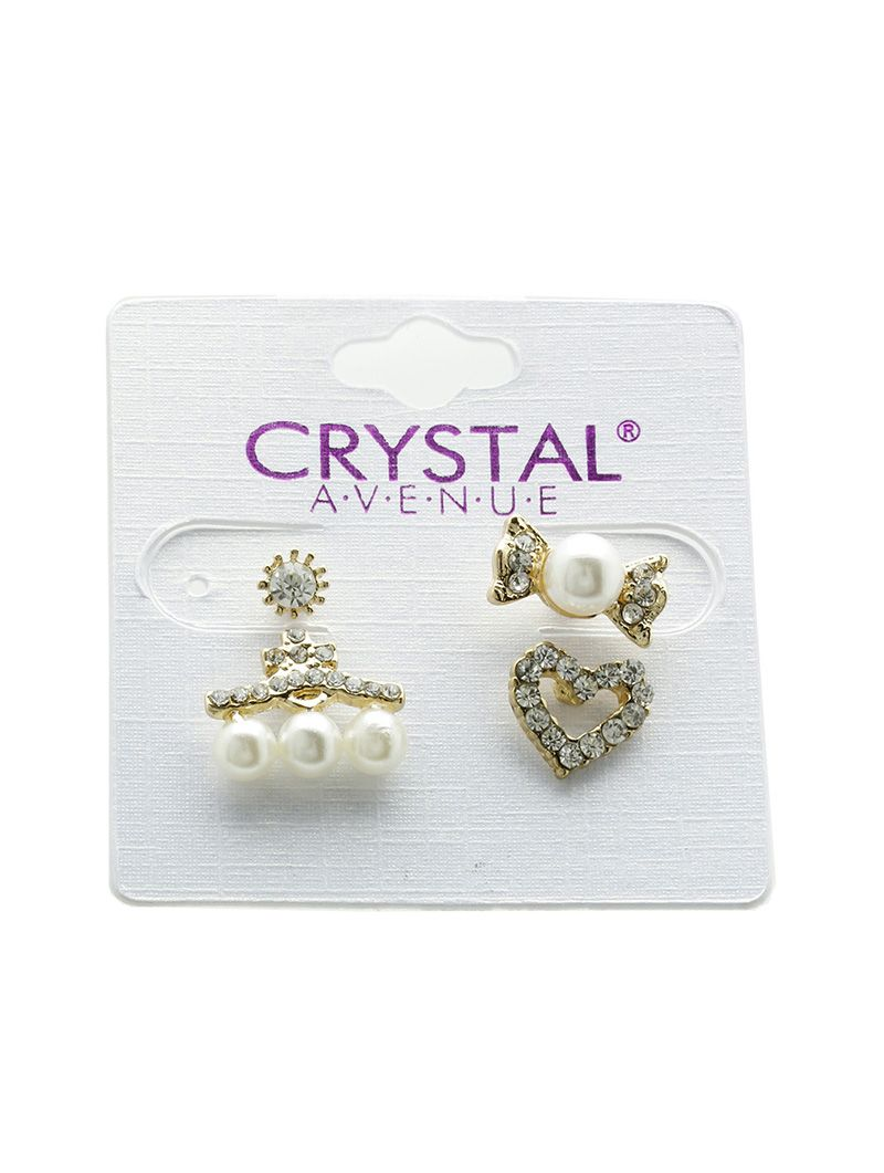 Crystal Stone Pearl 4 Pc Stud Heart