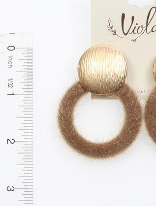 Round Animal Fur Metal Post Pin 2 1