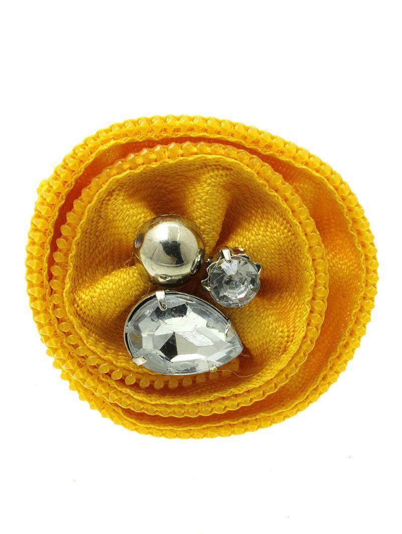 Zipper Fabric Flower Faceted Glass Stone