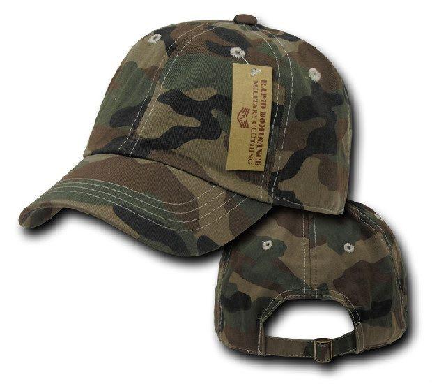Camo Polo Caps, Woodland Camo