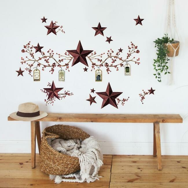Country Stars & Berries Wall Decal
