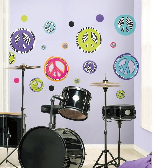 Zebra Print Peace Signs Wall Decal