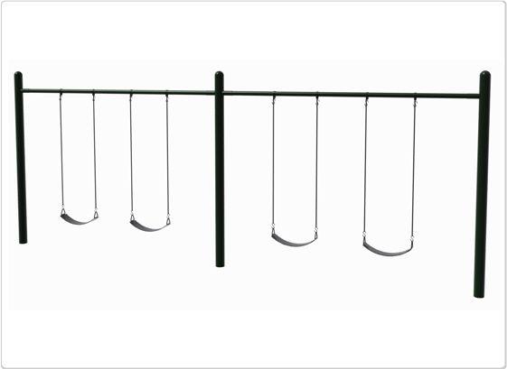 "SportsPlay 4.5"" OD Single Post Swing: 4 Seats - Playground Swing Set"