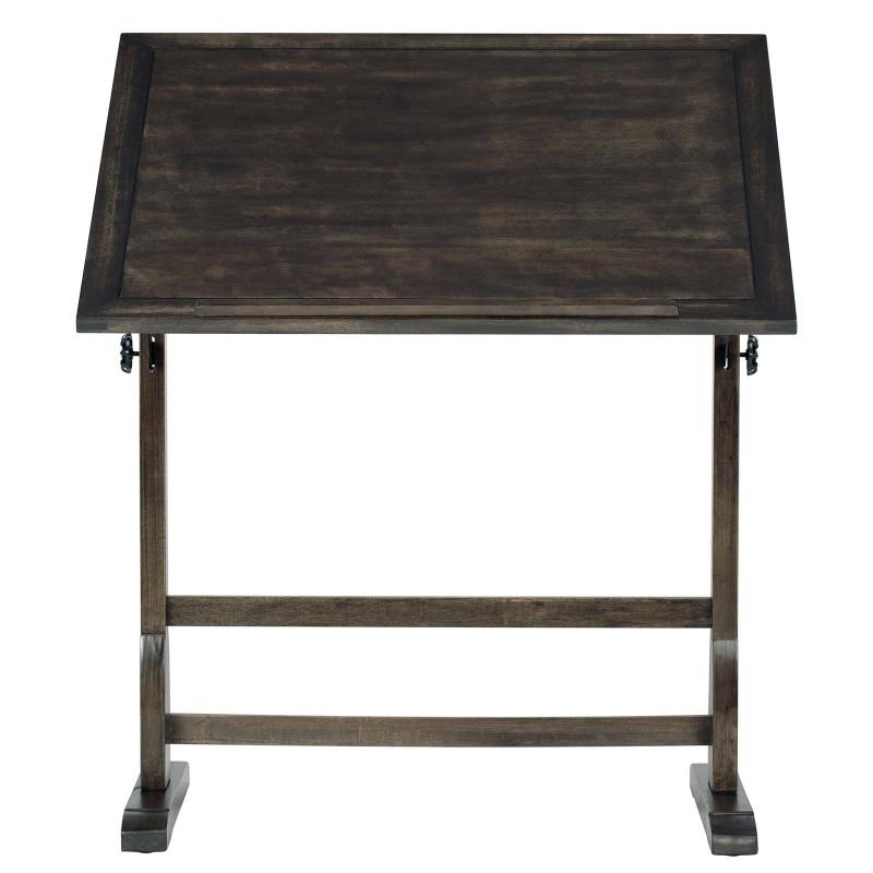 "Vintage Wood Drafting Table With 36"" X 24"" Adjustable Top In Distressed Black"