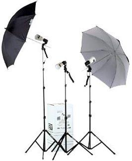 Smith-Victor KF3U/401456 3-Light 135 watt-Second Thrifty Location Kit with Umbrellas