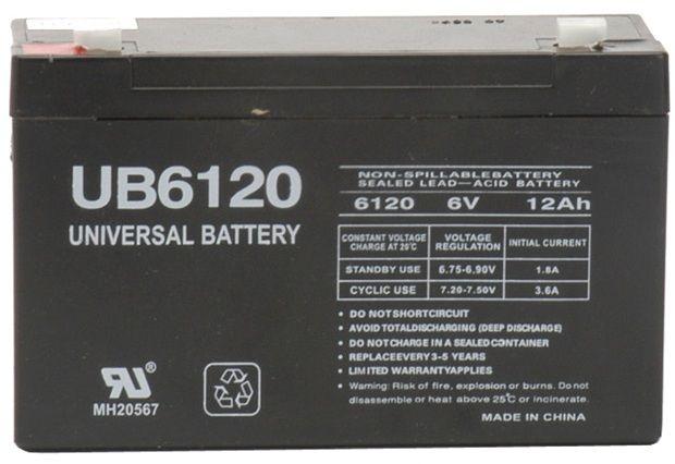 UPG Sealed Lead Acid AGM: UB6120, 12 AH, 6V, F1