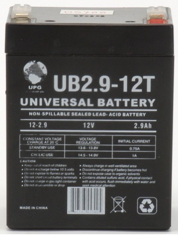 UPG Sealed Lead Acid AGM: UB1229T, 2.9 AH, 12V