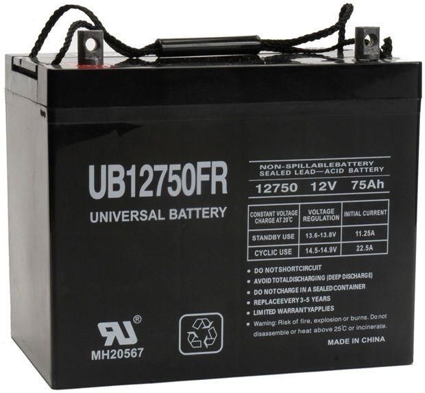 UPG Flame Retardant Sealed Lead Acid AGM: UB12750FR, 75 AH, 12V, Z1