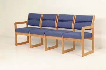 Wooden Mallet™ Dakota™ Valley Four Seat Sofa, Designer Fabrics, Sled Base