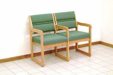 Wooden Mallet™ Dakota™ Valley Two Seat Chair with Center Arms: Designer Fabrics, Sled Base