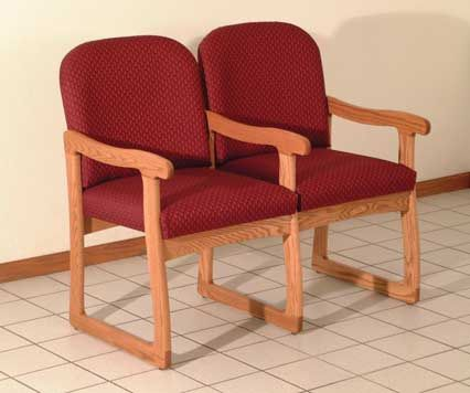 Wooden Mallet™ Prairie Two Seat Chair with Center Arms: Sled Base