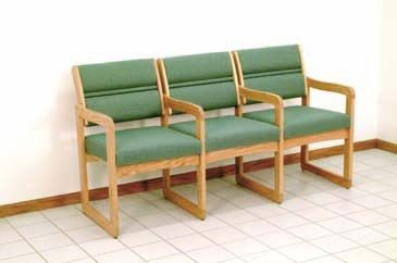 Wooden Mallet™ Dakota™ Valley Three Seat Chair with Center Arms: Designer Fabrics, Sled Base