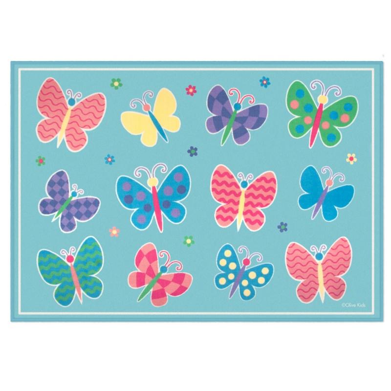 Butterfly Garden Blue 5x7 Rug