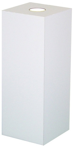 "Xylem White Laminate Spot Lighted Pedestal: Size 23"" x 23"""